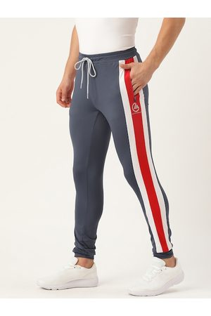 ACTOHOLIC Men Charcoal Grey Solid Joggers with Striped Detail