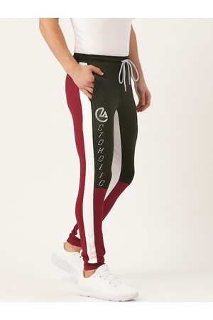 ACTOHOLIC Men Black & Maroon Colourblocked Joggers with Striped Detail