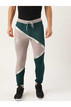 ACTOHOLIC Men Grey & Teal Green Colourblocked Joggers