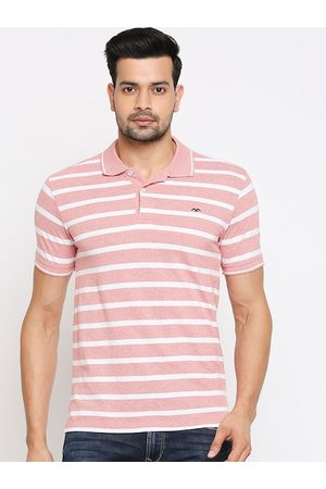 Mufti Men Pink Striped Henley Neck T-shirt