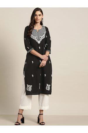 Moda Rapido Women Black & White Ethnic Motifs Embroidered Pure Cotton Straight Kurta