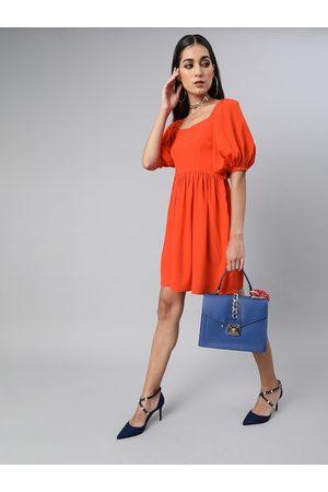 Sera Women Orange Solid Gathered Fit and Flare Dress
