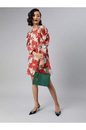 Sera Women Red Printed A-Line Dress