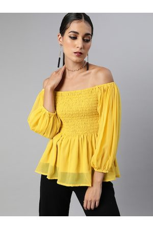 Sera Women Yellow Solid Off-Shoulder Smocked A-Line Top