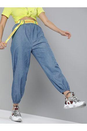 Sassafras Women Joggers - Women Blue Regular Fit Solid Cropped Joggers