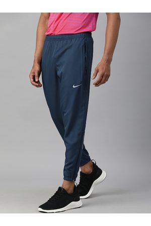 Nike Men Teal Blue Solid Dri-Fit Straight Fit Essential Running Joggers