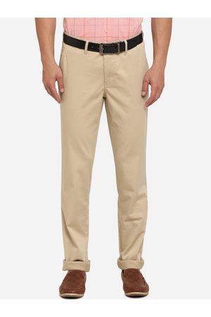 JADE BLUE Men Beige Skinny Fit Solid Cotton Regular Trousers