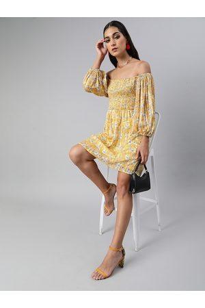 Sera Women Yellow & White Floral Printed Smocked A-Line Dress
