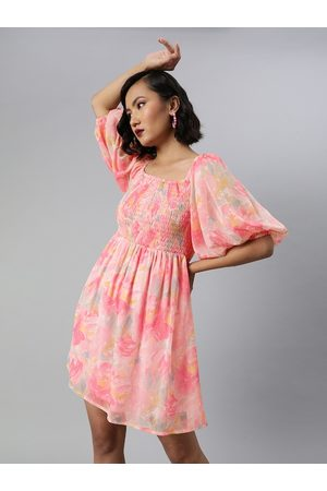 Sera Women Pink & blue Floral Printed Smocked Fit and Flare Dress