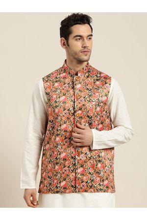SOJANYA Men Jackets - Men Orange & Green Floral Print Nehru Jacket