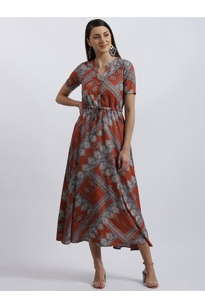 Zink London Women Rust Printed Fit and Flare Dress