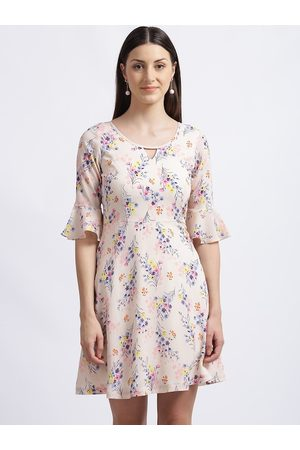 Zink London Women Peach-Coloured Floral Printed Fit and Flare Dress