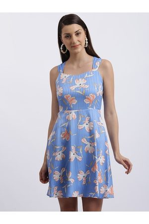 Zink London Women Blue Floral Printed Fit and Flare Dress