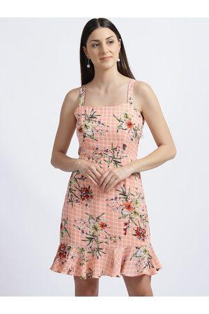 Zink London Women Peach-Coloured Floral Printed Peplum Dress