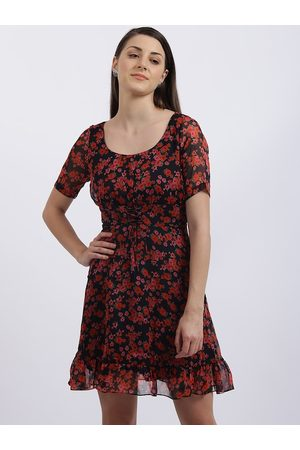 Zink London Women Black & Red Floral Printed Fit and Flare Dress