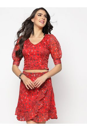 Sera Women Printed Dresses - Women Red Printed Fit and Flare Dress
