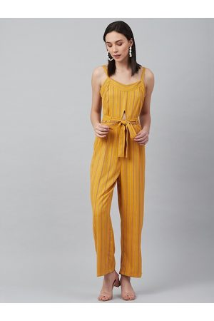 marie claire Women Mustard & Maroon Striped Basic Jumpsuit