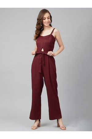 marie claire Women Maroon Solid Basic Jumpsuit