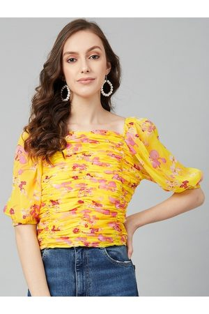Rare Fashion Yellow Floral Printed Puff Sleeves Chiffon Fitted Top
