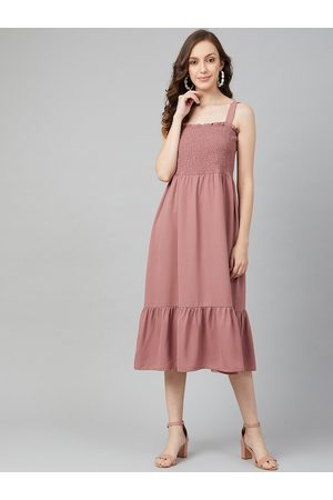 marie claire Women Peach-Coloured Solid A-Line Dress