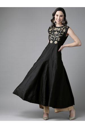 Bhama Couture Women Black Ethnic Motifs Yoke Design Thread Work Kurta