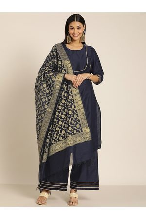 all about you Women Navy Blue & Gold-Coloured Solid Kurta with Palazzos & Dupatta