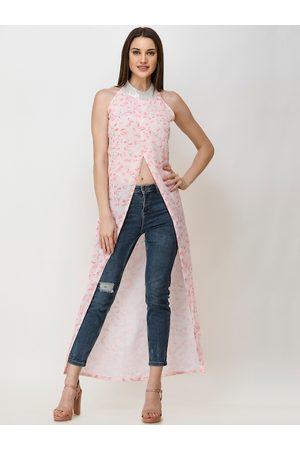 Cation Women Halterneck Tops - Women White & Pink Floral Printed Halter Neck Longline Top
