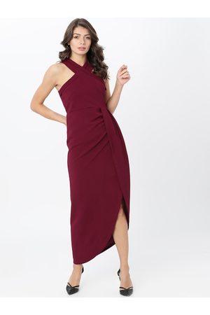 Tokyo Talkies Women Maroon Solid Maxi Dress