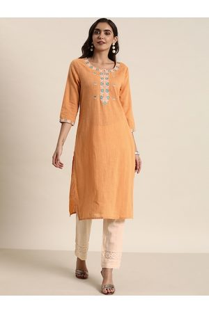 all about you Women Orange & Cream-Coloured Yoke Design Kurta with Trousers
