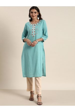 all about you Women Blue & Cream-Coloured Yoke Design Kurta with Trousers