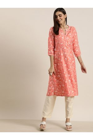 all about you Women Peach-Coloured & White Floral Printed Kurta with Trousers