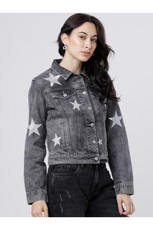 Tokyo Talkies Women Grey Printed Denim Jacket
