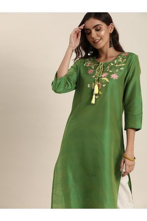 all about you Women Green Floral Embroidered Floral Kurta