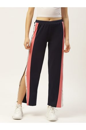 Laabha Women Navy Blue Solid Side Snap Button Closure Track Pants