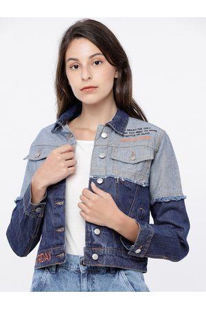Tokyo Talkies Women Blue Colourblocked Denim Jacket