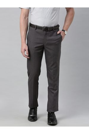 Louis Philippe Men Charcoal Slim Fit Solid Formal Trousers