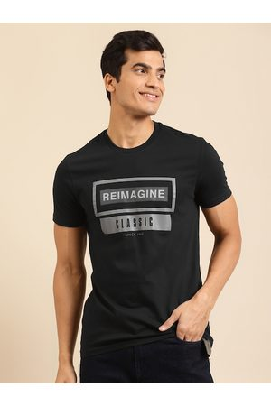 Benetton Men Black Pure Cotton Printed Round Neck T-shirt