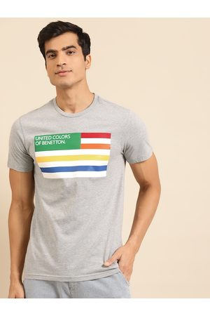 Benetton Men Sustainable Grey Melange & White VIROBAN Striped T-shirt