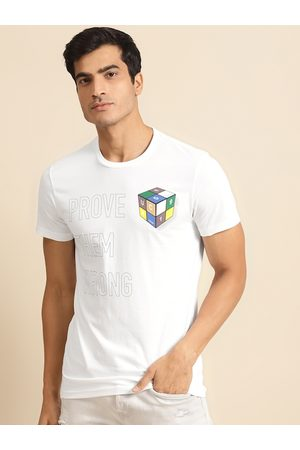 Benetton Men White & Navy Blue Printed Pure Cotton Round Neck T-shirt