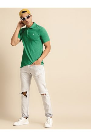 Benetton Men Green Solid Polo Collar T-shirt
