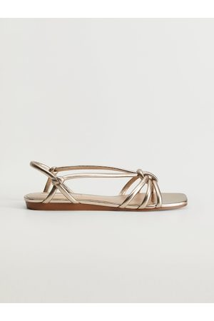 MANGO Women Gold-Toned Solid Open Toe Flats with Knot Detail