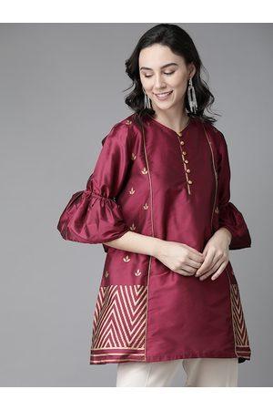 Bhama Couture Women Magenta & Golden Silk Printed Tunic