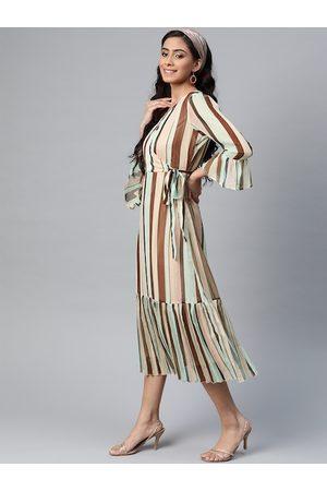 Sassafras Women Peach-Coloured & Brown Striped Wrap Dress