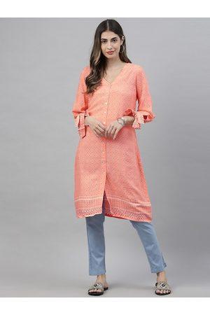 Global Desi Women's Pink & White Printed Tunic