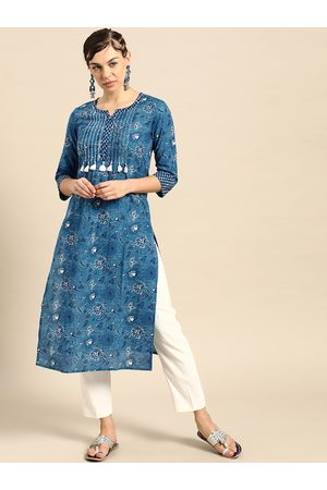 Varanga Women Blue & White Ethnic Motifs Printed Pure Cotton Straight Kurta