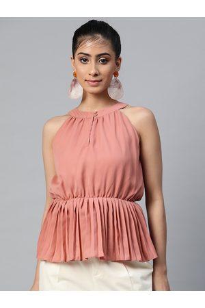 Sassafras Women Pink Satin Keyhole Neck Top