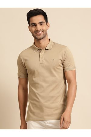 Benetton Men Beige Pure Cotton Solid Polo Collar T-shirt