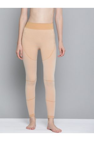 HRX Women Camel Striped Skinny Fit Seamless Rapid-Dry Yoga Tights