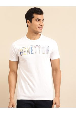 Benetton Men White Pure Cotton Printed Round Neck T-shirt