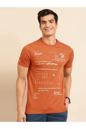 Benetton Men Sustainable Rust Orange & Cream-Coloured Printed T-shirt